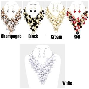 BRAND NEW Pearl Cluster Necklace Sets